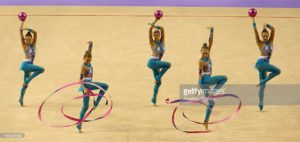 IZMIR, TURKEY - SEPTEMBER 27: Members of Russia's rhythmic gymnastics team compete during the 33rd Rhythmic Gymnastics World Championships in Izmir, Turkey on September 27, 2014. (Photo by Cem Oksuz/Anadolu Agency/Getty Images)